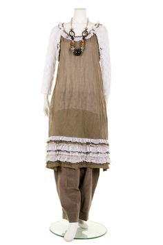 BARGAIN BUY!! HEBBEDING lagenlook SINGLET DRESS TAUPE/OFF WHITE RRP £299 UK14-20 #Hebbeding #Singlet