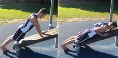 Incline Push-ups. By decreasing the incline, the difficulty is increased. Beginner Calisthenics, Body Weight, Push Up, Exercise, Running, Ejercicio, Racing, Excercise, Keep Running