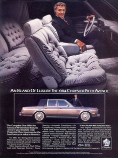 1986 CHRYSLER Fifth Avenue Vintage Original Print AD Black car photo canada fr