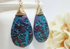 Gold drop earrings - Polymer clay earrings - Purple earrings - Purple drops - Abstract earrings - Multicolored earrings - Long gold earrings by HappyElephantArt on Etsy https://www.etsy.com/listing/288163761/gold-drop-earrings-polymer-clay-earrings