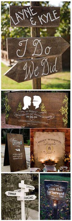 We definitely might need something like the bottom-left signpost at our giant backyard wedding. #decor #weddings