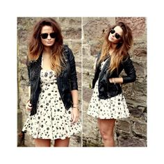 Girly dress with leather jacket - one of my fav looks