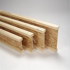 Prefabricated I-joists. The top and bottom flange material is sawn lumber or laminated veneer lumber; the web material is typically OSB. Structural components that are widely used as floor joists. Generic material.
