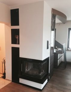 narożny kominek nowoczesny n71 z wnęką na drewno Living Room Interior, Interior Design Living Room, Home Fireplace, Design Trends, Angles, Home Decor, Model, Houses, Lounges