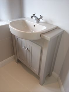 Manor house grey with a solid oak top vanity unit all our vanity units are made to measure so Design your own bathroom uk