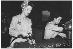 In this iconic historical image, two women are making bombs in a munitions factory. During the period between the Second and First World War, women were expected to be homemakers, housewives and were. 1940s Woman, Land Girls, Girls Camp, Rosie The Riveter, Historical Images, 1940s Fashion, Working Woman, Women In History, Famous Women