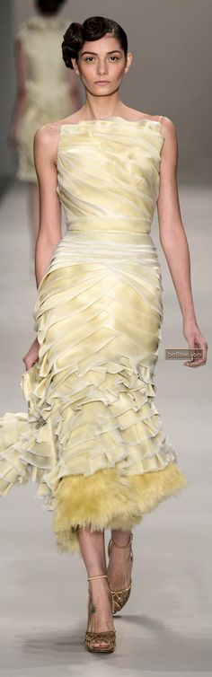 Sophisticated Style| Serafini Amelia| Pale Yellow| Dress| Samuel Cirnansck Sao Paulo Spring Summer 2014