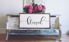 """""""Blessed"""" Size is Approximately: 45""""x 23"""" White Printed Board + BlackText+ Stained Wood Frame Please note these boards are lightweight (2-6 pounds) making decorating and rearranging a breeze!  Hangers are included with all products  Ships within 7-10business days."""