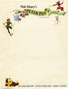 Letterhead used by Disney in 1953 to promote the release of their new animated feature: Peter Pan.Walt Disney's Peter Pan, 1953 Disney Princess Quotes, Disney Songs, Disney Quotes, Disney Love, Disney Disney, Disney Magic, Peter Pan And Tinkerbell, Peter Pan Disney, Disney Scrapbook