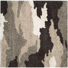 Safavieh Camouflage Shag Beige/Multi Square Indoor Machine-Made Area R