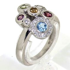 Beautiful white gold ring set with diamonds & several gemstones Vintage Silver Rings, White Gold Rings, White Gold Diamonds, Vintage Jewelry, Diamond Gemstone, Gemstone Rings, Silver Engagement Rings, Jewels, Collection
