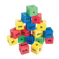 Reading Dice, Word Family Dice, Phonics Game: Shake and roll these dice to practice reading thousands of real and nonsense words. 17 dice contain 102 letter combinations for making thousands of words! Spelling Games, Spelling Activities, Kids Learning Activities, Learning Tools, Teacher Supplies, Classroom Supplies, Phonics Games Online, Math Flash Cards