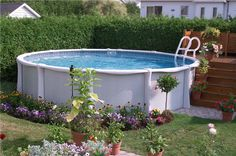 Small round fiberglass above ground pools for small backyard