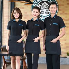 half length split apron household apron chef apron for chef waiter Cafe Uniform, Waiter Uniform, Hotel Uniform, Uniform Shirts, Work Uniforms, Waitress Outfit, Restaurant Uniforms, Chef Apron, Uniform Design