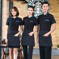half length split apron household apron chef apron for chef waiter Cafe Uniform, Waiter Uniform, Hotel Uniform, Uniform Shirts, Work Uniforms, Restaurant Uniforms, Chef Apron, Uniform Design, Blazer Outfits