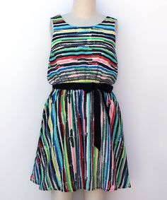Take a look at this Ava & Yelly Rainbow Stripe Blouson Dress - Girls today!