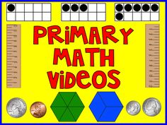 Primary Math Videos - these videos are perfect for a computer center. A great way to reach students in a different way! Math Classroom, Kindergarten Math, Teaching Math, Flipped Classroom, Classroom Ideas, Primary Maths Games, Fun Math, Math Help, Math Resources