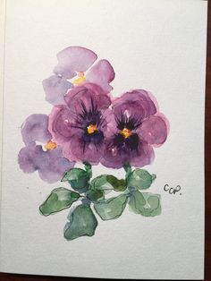 Purple Pansies Watercolor Card /Hand Painted Watercolor Card   This is an original card. I have used watercolor and ink to paint these cheerful pansies. Pansies can be planted now for next Spring. This card is painted on heavy 140* card stock. This card is 5x7 and is blank inside. Comes with a matching envelope.