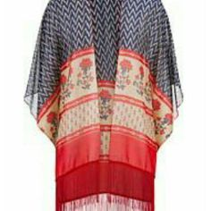 New Maurices shawl scarf kimono open poncho fringe One size fits all, this is a new, never worn without tags. It's a vibrant red with navy. So delicate yet vibrant, love the print in this.  I'm not sure what to call it. It's like a kimono, but the sides are open, almost like a shawl or scarf, similar to a poncho except the front is open. Maurices Tops Blouses