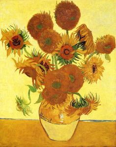 "Vincent van Gogh - ""Sunflowers"" - 1888 I've also seen the original of this one - nothing like seeing his brush strokes up close!"