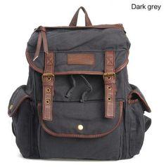Mens Retro backpack messenger bag leather canvas bag by spittebag