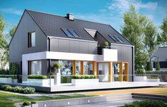 Projekt przeznaczony jest dla osób ceniących ponadczasową nowoczesność. Dom zawiera dużą ilość przeszkleń, co gwarantuje dobre oświetlenie. W bryłę domu dodatkowo wchodzi przeszklony taras, z którego domownicy mogą korzystać zarówno w lecie, jak i w zimie.