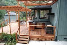 If stone is not possible, like the look of these built ins with wood decking.
