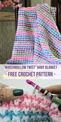 """Marshmallow Twist"" Baby Blanket - Free Crochet Pattern Adorable baby blanket by Kim Guzman #freepattern #crochet #babyblanket"