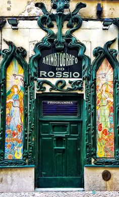 Lisbon, Portugal // Animrtografo do Rossio Sintra Portugal, Spain And Portugal, Portugal Travel, Porte Cochere, Old Doors, Windows And Doors, Amazing Architecture, Architecture Details, Art Nouveau