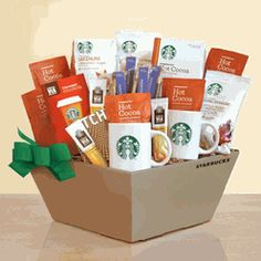 Starbucks Caffeine Cravings Gift Box - Satisfy their caffeine craving and their sweet tooth with the Starbucks Caffeine Cravings Gift Box . This naturally delicious selection of Starbucks. Salted Caramel Hot Chocolate, Cocoa Chocolate, Organic Chocolate, Chocolate Gifts, Chocolate Coffee, Starbucks Gift Baskets, Tea Gift Baskets, Raffle Baskets, Tea Gifts