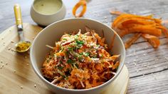 This Indian carrot salad recipe presents a salad dressing rich in flavors and quick to make. Indian Carrot Salad Recipe, Carrot Salad Recipes, Mustard Recipe, Spaghetti Bolognese, Recipe Finder, Popular Recipes, Sauce Recipes, Ethnic Recipes, Salad Dressing
