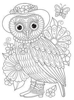 Lady Owl Coloring Page by Thaneeya McArdle