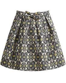 Gold Geometric Print Bow Flare Skirt US$20.83