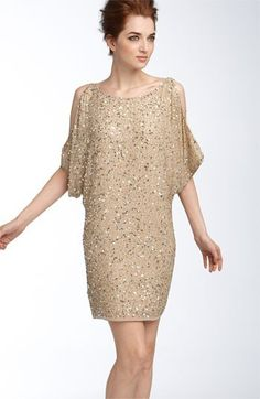 bridesmaid - gold sequin dress