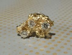 14K Yellow Gold Nugget Tie Tack With Diamonds by TheGoldenLoot