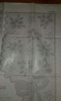 Filet Crochet Charts, Crochet Motifs, Crochet Doilies, Crochet Lace, Crochet Patterns, Chrochet, Crochet Table Runner, Crochet Tablecloth, Bee Crafts For Kids