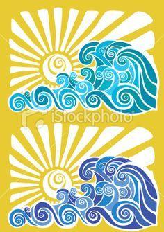 Hawaiian sunset and waves stencil Royalty Free Stock Vector Art Illustration