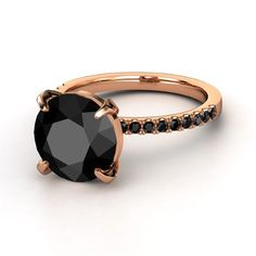Round Black Diamond 18K Rose Gold Ring with Black Diamond | Candace Ring | Gemvara...since I have $10K to spend on jewelry and all....