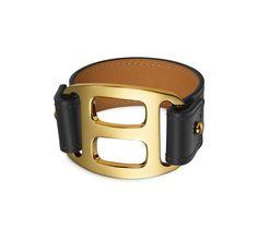 "Hermès | Pagode leather bracelet (size S) | Chamonix calfskin | Gold plated hardware, 6.7"" circumference | Color: black | Ref. H066207CC89S | $840.00"