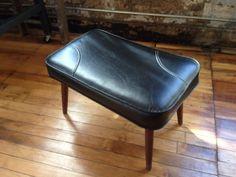 Vintage Mid Century Black Footstool with Walnut Legs Ottoman Foot Stool Mid Century Modern Stool Footrest Foot rest on Etsy, $62.00
