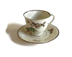 Porcelain Footed Tea Cup and Saucer by Kjobenhavns Porcellains Maleri  KPM Green Vallo Pattern Denmark Platinum Trim by TreasuresFoundShoppe on Etsy