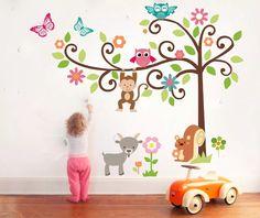 vinilos deco infantiles arbol selva animales troquel x130 cm