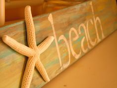 Beach themed sign with starfish