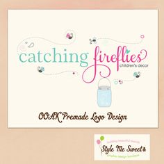 Premade OOAK Logo Hand Drawn Fireflies and by stylemesweetdesign, $75.00