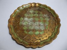 "Vintage Italian Florentine Toleware Tray 11.5"" GREEN GOLD #HollywoodRegency #Florentia"
