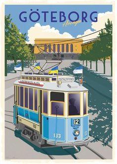 Sverige – Thomasodesign Stockholm, Art Deco Posters, Vintage Graphic Design, Gothenburg, City Art, Vintage Travel Posters, Beautiful Places To Visit, Old Pictures, Vintage Advertisements