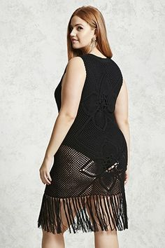 Forever - An open-knit layering dress featuring a semi-sheer design, sleeveless cut, round neckline, and a knotted tassel hem. (Undergarments not included. Everyday Goth, Super Mom, Plus Size Swimwear, 90s Fashion, Plus Size Outfits, Latest Trends, Cool Style, Unicorn Print, How To Wear