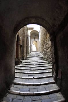 Patigliano Stairway behind Cathedral in Italy
