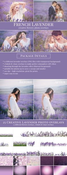 French Lavender photo overlays. Shooting through the lavender effect – blurred foreground. Great for flowery pictures – kids
