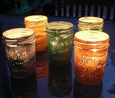 DIY wish list: Paint jars & Scratch words, add tea light candles? Distressed Mason Jars, Mason Jar Lanterns, Crafty Craft, Crafting, Painted Jars, Bottles And Jars, Mason Jar Crafts, Crafts To Do, Craft Gifts